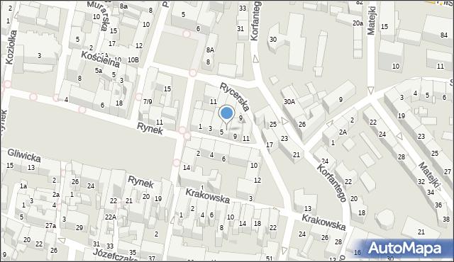 Bytom, Rycerska, 7, mapa Bytomia