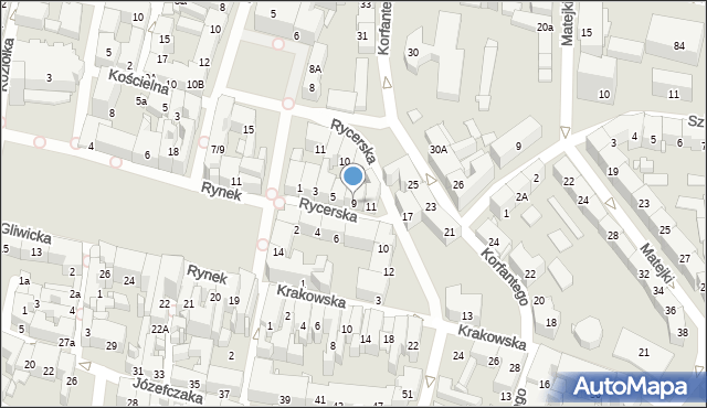 Bytom, Rycerska, 9, mapa Bytomia