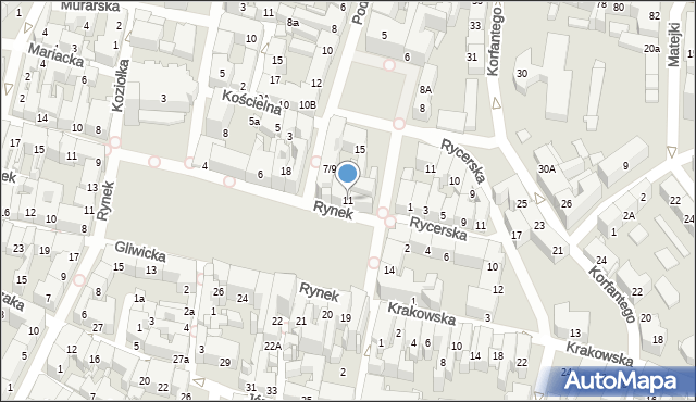Bytom, Rynek, 11, mapa Bytomia