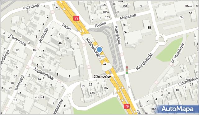 Chorzów, Rynek, 1c, mapa Chorzów