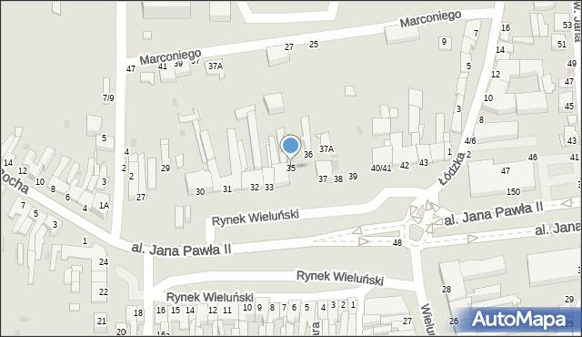 Częstochowa, Rynek Wieluński, 35, mapa Częstochowy