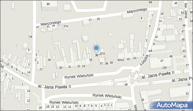 Częstochowa, Rynek Wieluński, 36, mapa Częstochowy