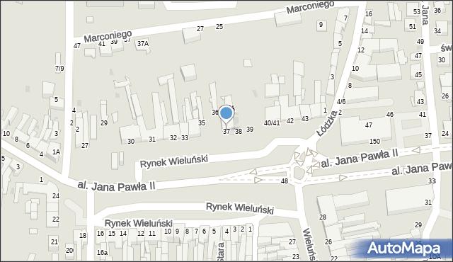 Częstochowa, Rynek Wieluński, 37, mapa Częstochowy
