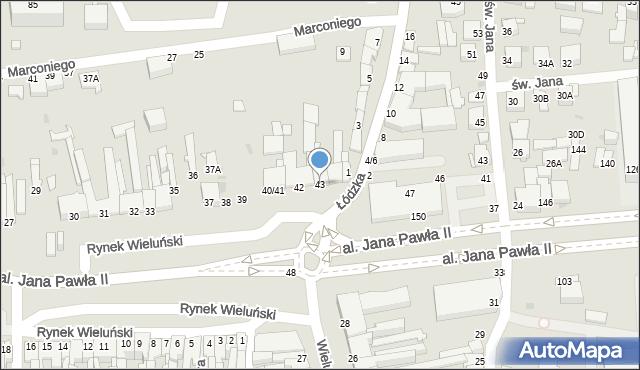 Częstochowa, Rynek Wieluński, 43, mapa Częstochowy
