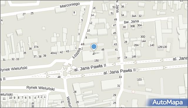 Częstochowa, Rynek Wieluński, 47, mapa Częstochowy