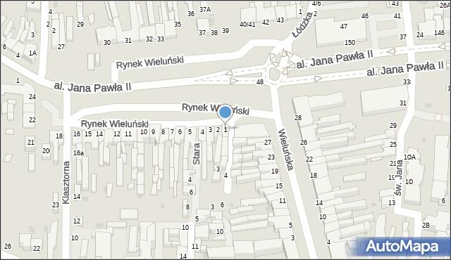 Częstochowa, Rynek Wieluński, 1, mapa Częstochowy