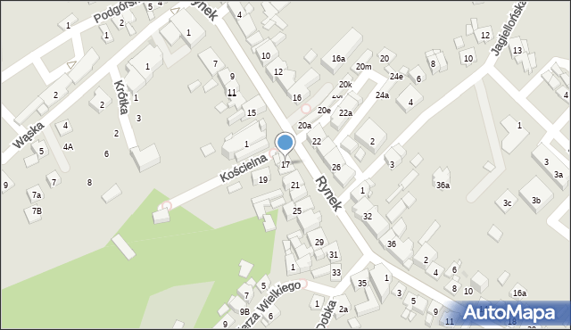 Dobczyce, Rynek, 17, mapa Dobczyce