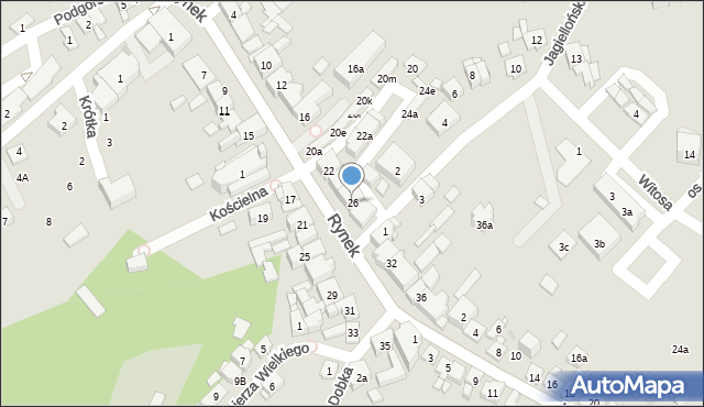 Dobczyce, Rynek, 26, mapa Dobczyce