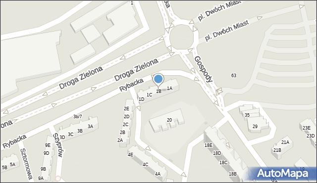 Gdańsk, Rybacka, 1B, mapa Gdańska