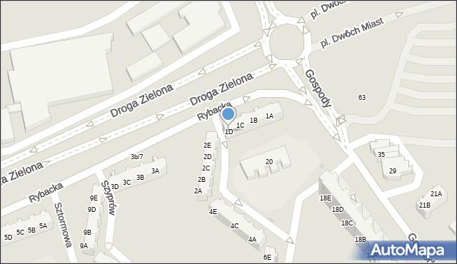 Gdańsk, Rybacka, 1D, mapa Gdańska