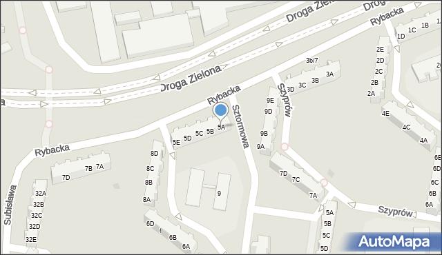 Gdańsk, Rybacka, 5A, mapa Gdańska