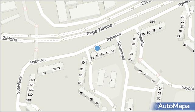 Gdańsk, Rybacka, 5D, mapa Gdańska