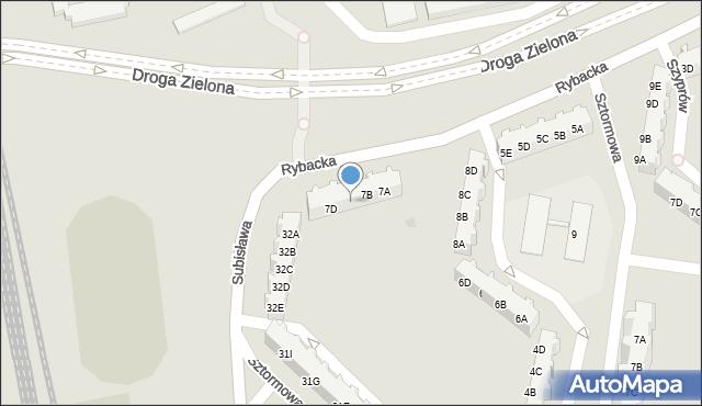 Gdańsk, Rybacka, 7C, mapa Gdańska