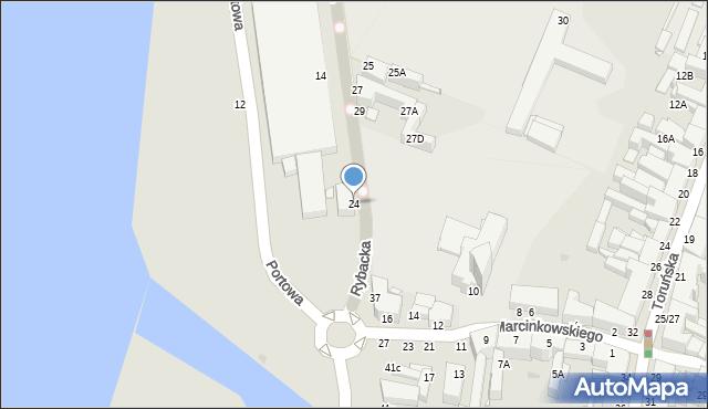 Grudziądz, Rybacka, 24, mapa Grudziądza