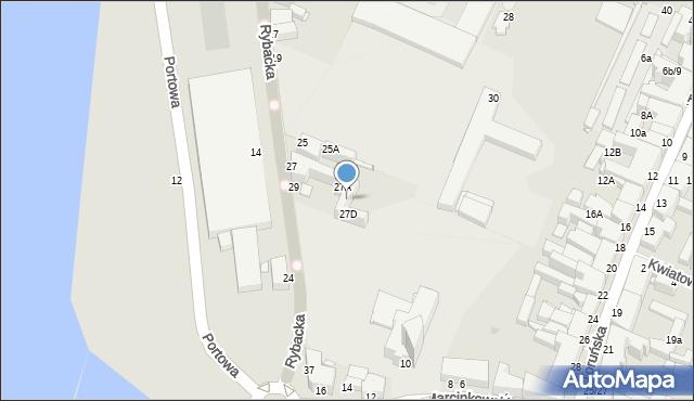 Grudziądz, Rybacka, 27C, mapa Grudziądza