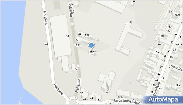 Grudziądz, Rybacka, 27D, mapa Grudziądza