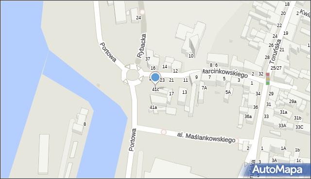 Grudziądz, Rybacka, 41c, mapa Grudziądza