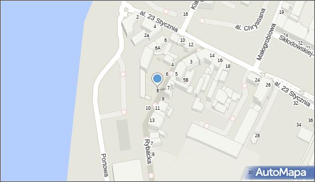 Grudziądz, Rybacka, 8, mapa Grudziądza