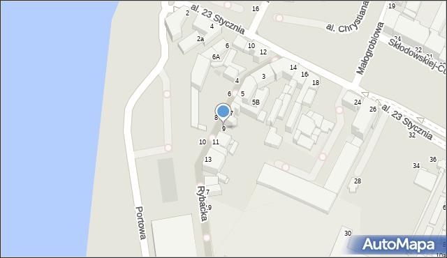 Grudziądz, Rybacka, 9, mapa Grudziądza