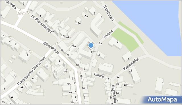 Kętrzyn, Rybna, 1, mapa Kętrzyn