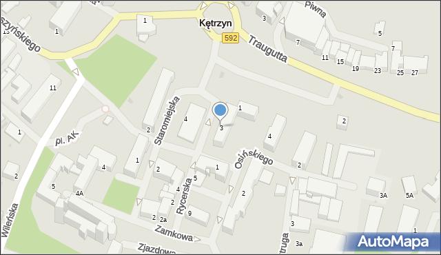Kętrzyn, Rycerska, 3, mapa Kętrzyn