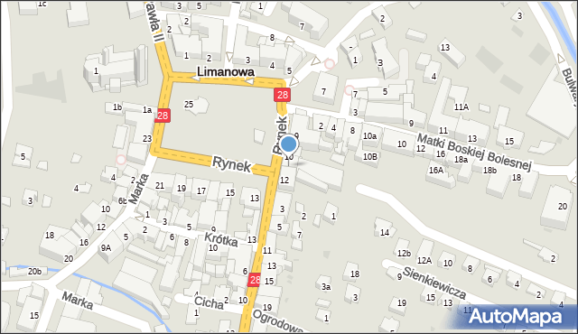 Limanowa, Rynek, 11, mapa Limanowa