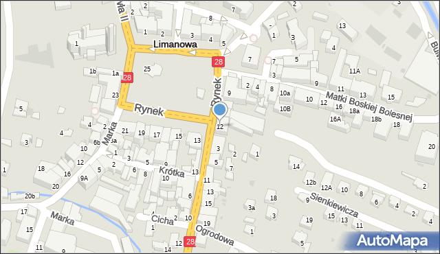 Limanowa, Rynek, 12, mapa Limanowa