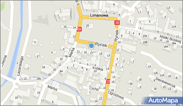 Limanowa, Rynek, 17, mapa Limanowa