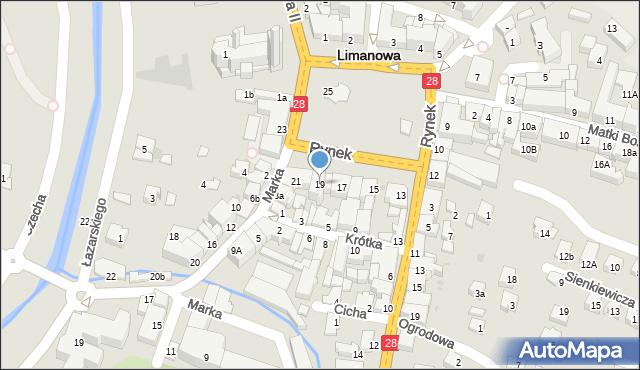 Limanowa, Rynek, 19, mapa Limanowa
