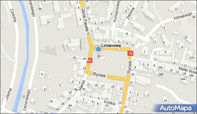 Limanowa, Rynek, 25, mapa Limanowa