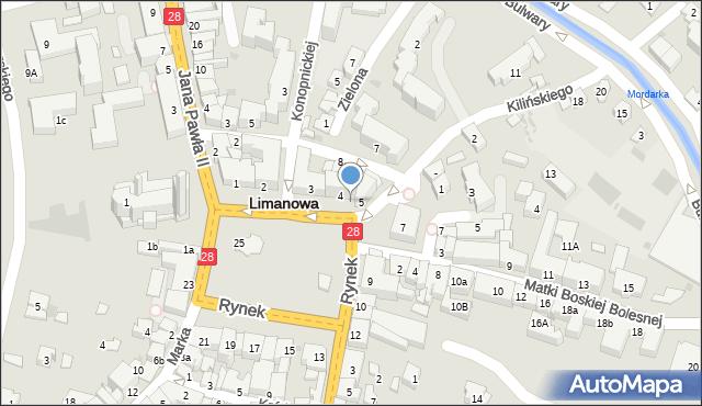 Limanowa, Rynek, 6, mapa Limanowa