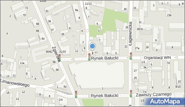 Łódź, Rynek Bałucki, 8, mapa Łodzi