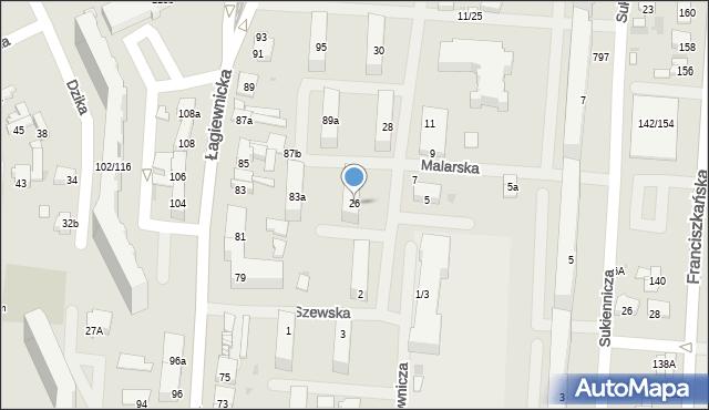 Łódź, Rysownicza, 26, mapa Łodzi