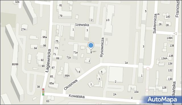 Łódź, Rysownicza, 4, mapa Łodzi
