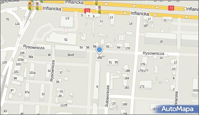 Łódź, Rysownicza, 45b, mapa Łodzi