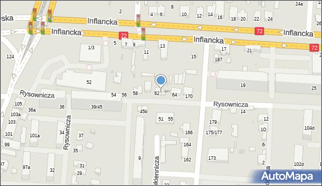 Łódź, Rysownicza, 62A, mapa Łodzi