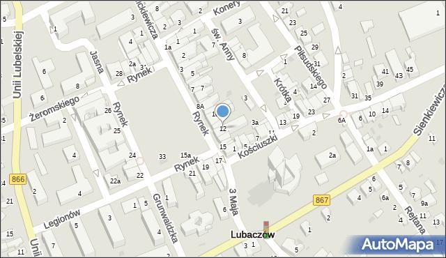 Lubaczów, Rynek, 12, mapa Lubaczów