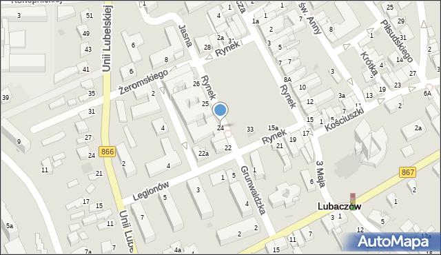 Lubaczów, Rynek, 24, mapa Lubaczów