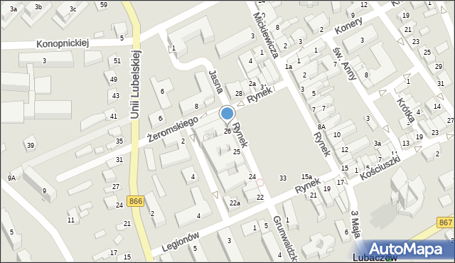 Lubaczów, Rynek, 26, mapa Lubaczów