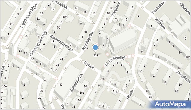 Nysa, Rynek, 35A, mapa Nysy