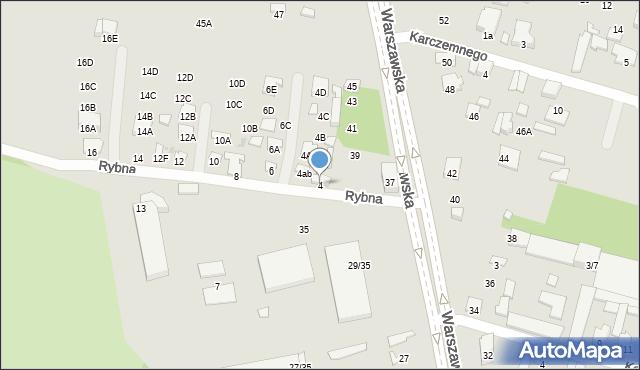 Radom, Rybna, 4, mapa Radomia