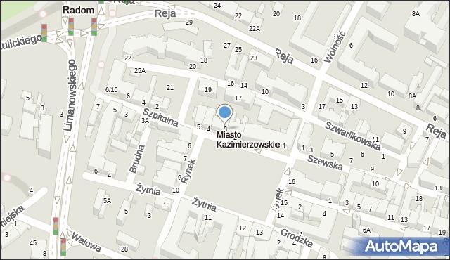 Radom, Rynek, 3, mapa Radomia