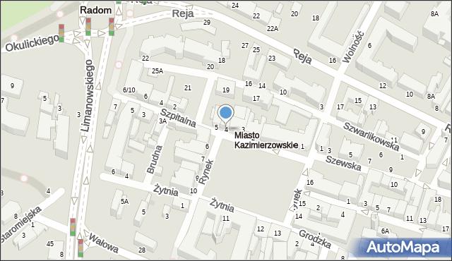 Radom, Rynek, 4, mapa Radomia
