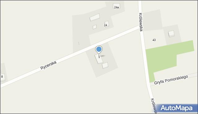 Robakowo, Rycerska, 1, mapa Robakowo