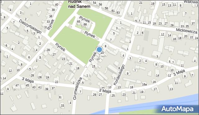 Rudnik nad Sanem, Rynek, 12, mapa Rudnik nad Sanem