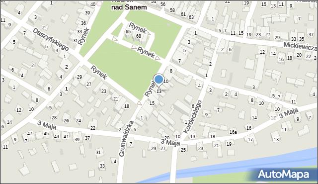 Rudnik nad Sanem, Rynek, 13, mapa Rudnik nad Sanem