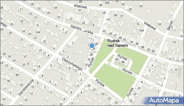 Rudnik nad Sanem, Rynek, 37, mapa Rudnik nad Sanem