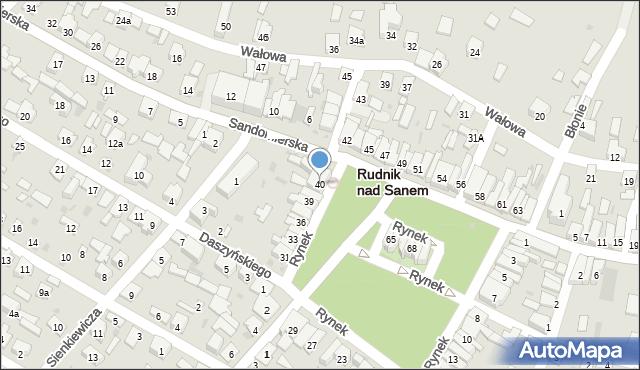 Rudnik nad Sanem, Rynek, 40, mapa Rudnik nad Sanem