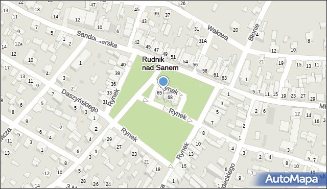 Rudnik nad Sanem, Rynek, 66, mapa Rudnik nad Sanem