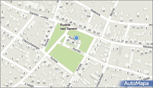 Rudnik nad Sanem, Rynek, 70, mapa Rudnik nad Sanem